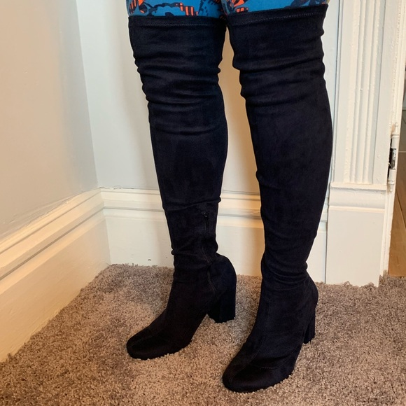 411e414140 Zara Shoes | Over The Knee Boots Size 9 Blue Velvet | Poshmark